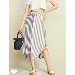 BB Dakota Navy Stripe Skirt